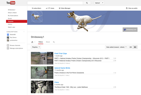 Strideaway YouTube Page